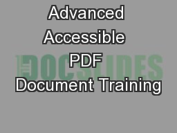 Advanced Accessible  PDF Document Training