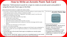 How to Write an Acrostic Poem Task Card