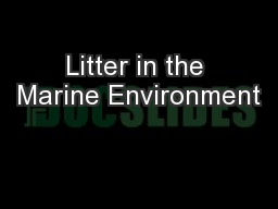 Litter in the Marine Environment