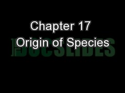Chapter 17 Origin of Species