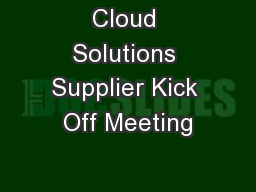 Cloud Solutions Supplier Kick Off Meeting