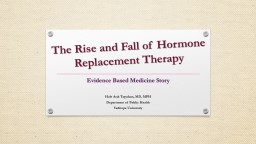 The  R i se  and Fall of Hormone Replacement Therapy