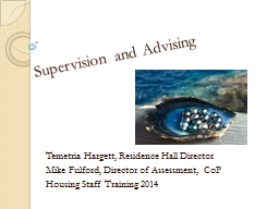 Supervision and Advising