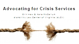 Advocating for Crisis Services