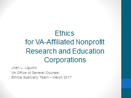 Ethics for VA-Affiliated Nonprofit Research and Education Corporations