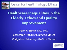 Healthcare Inequalities in the Elderly: Ethics and Quality Improvement