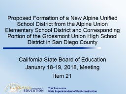 Proposed Formation of a New Alpine Unified School District from the Alpine Union Elementary School