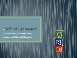 ABC's of Agreements Dr. Chris