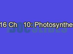 2016 Ch   10: Photosynthesis