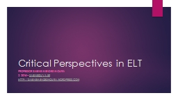 Critical Perspectives in ELT