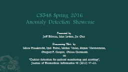 CS548 Spring  2016 �Anomaly Detection�Showcase
