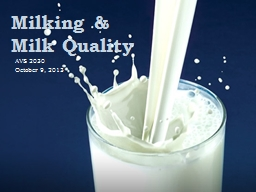 Milking & Milk Quality