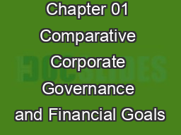 Chapter 01 Comparative Corporate Governance and Financial Goals