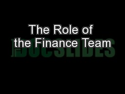 The Role of the Finance Team