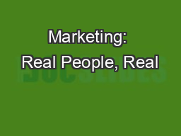 Marketing: Real People, Real