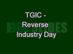 TGIC - Reverse Industry Day