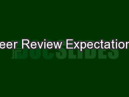 Peer Review Expectations