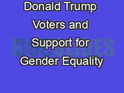 Donald Trump Voters and Support for Gender Equality
