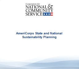 AmeriCorps State and National Sustainability Planning