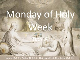 Monday of Holy Week Year A