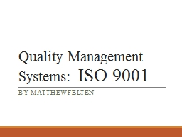 Quality Management Systems: PowerPoint PPT Presentation