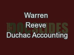 Warren Reeve Duchac Accounting PowerPoint PPT Presentation