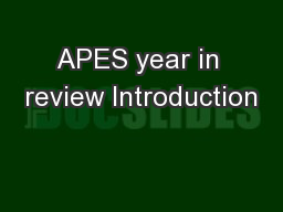 APES year in review Introduction