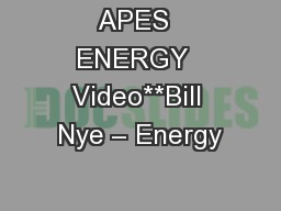 APES  ENERGY  Video**Bill Nye � Energy