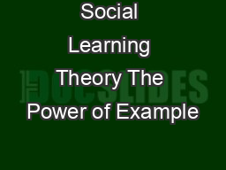 Social Learning Theory The Power of Example