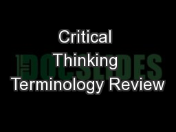 Critical Thinking Terminology Review
