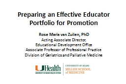 Preparing an Effective Educator Portfolio for Promotion