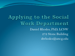 Applying to the Social Work Department