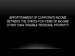 Apportionment of corporate income  between the states for items of income other than tangible perso