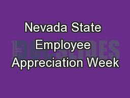 Nevada State Employee Appreciation Week