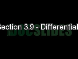 Section 3.9 - Differentials
