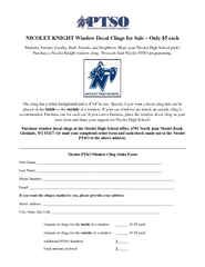NICOLET KNIGHT Window Decal Clings for Sale  Only  eac