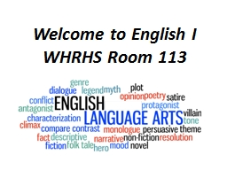 Welcome to English I WHRHS Room 113