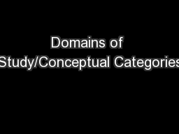 Domains of Study/Conceptual Categories