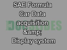 SAE Formula Car Data acquisition & Display system