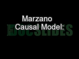 Marzano  Causal Model: