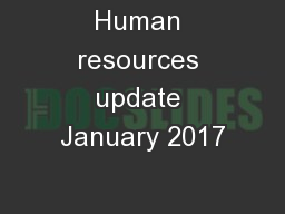 Human resources update January 2017