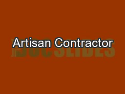 Artisan Contractor PowerPoint PPT Presentation