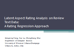 Latent Aspect Rating Analysis on Review Text Data:
