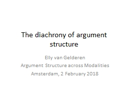 The  diachrony  of argument structure