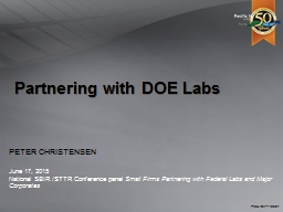 Partnering with DOE Labs