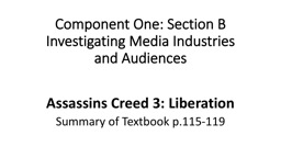 Component One: Section B Investigating Media Industries and Audiences