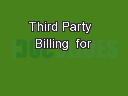 Third Party  Billing  for