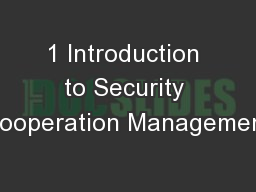 1 Introduction to Security Cooperation Management