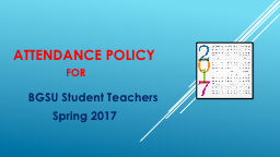 Attendance Policy  for