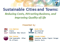 Sustainable Cities and Towns